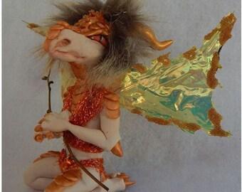 Woodland Dragon Goblin OOAK Fairy Bronze Color Fairies Sculpture Art Doll Polymer Clay Mixed Media Fantsy Art