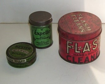 3 Advertising Tins, antique tins, Flash Hand and Cleaning tin, Expello Moth RepellentTin, Kester Metal tin