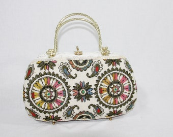 1960s Vintage Purse - White Wicker and Tapestry Handbag