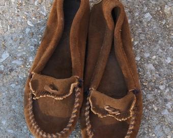 Vintage Brown Suede Minnetonka Moccasins 7