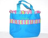 Chevron Ruffle Personalized Bag with Name Embroidered on it, Chevron Ruffle Ribbon. Dance Bag, Swim bag, Princess Bag, Easter Basket Bag