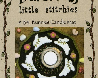 Bareroots Little Stitchies #134 Bunnies Candle Mat Rabbit Easter Pattern