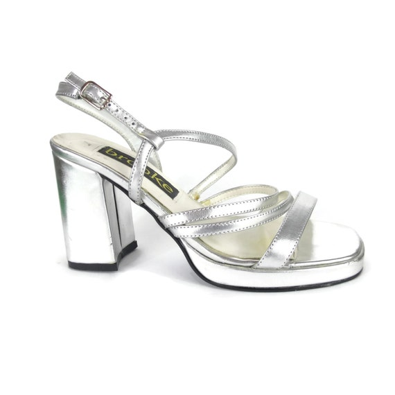 90s Silver Chunky Heels Platform Sandals High by honeymoonmuse