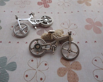10pcs 50mmx30mm Bike/bicycle Antique Silver  Retro Pendant Charm For Jewelry Pendant