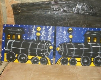 2  Train engines   black Express    1  bean and 1  ring toss