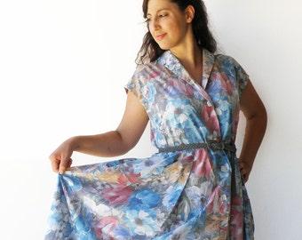 Vintage Pastel Spring Dress / Floral Dress / Size XL