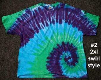 Tie Dye T-Shirts: unique hand dyed,100% pre-shrunk cotton, 2XL,