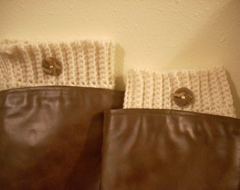 Boot cuffs-aran-upcylced unique buttons