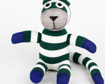 Free Shipping Handmade Black Striped Sock Tiger Stuffed Animal Doll Baby Toys