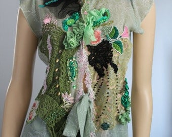 Pastel Green  Shabby chic Romantic  Embroidered Beaded Blouse Tunic Tattered Lace Gypsy Textile Collage -Wearable Art - Size M L