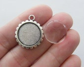 BULK 30 Cabochon frame charms with glass dome