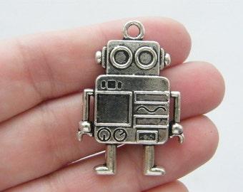 BULK 10 Robot charms antique silver tone P211