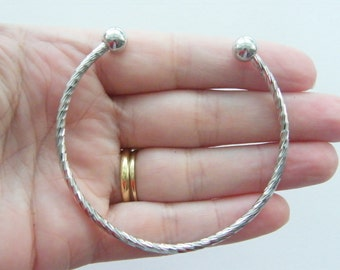 BULK 3 Silver bracelet 19cm ribbed pattern - SALE 50% OFF