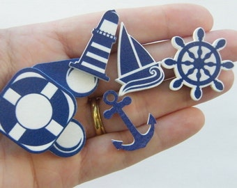 50 Nautical mixed embellishment 43 x 25mm wood