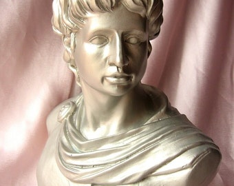 Victorian Resin Bust Male Statue / Home Decor/Recycled