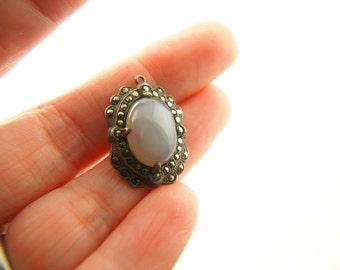 Chalcedony Marcasite Pendant - Sterling Silver - Art Deco - Vintage