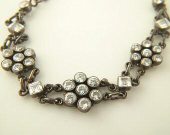 Rhinestone Paste Bracelet - Sterling Silver - Vintage