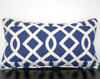 Blue outdoor pillow cover 21x11, blue cream outdoor cushion, imperial trellis pillow, navy blue outside pillow patio decor, trellis lumbar