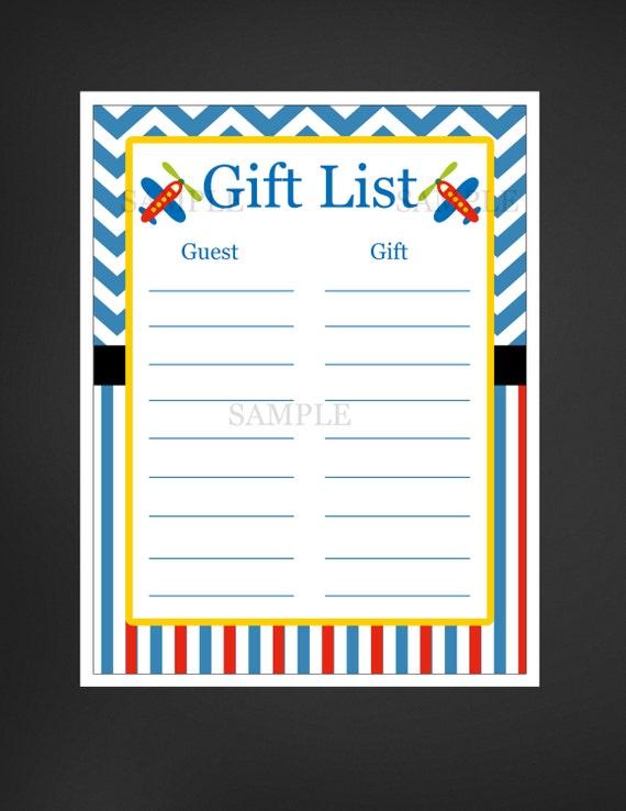 Baby Gift List Ireland : Airplane aviation baby shower gift list