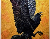 The Three Legged Birds, raven painting, acrylic painting, crow painting, 40 inch x 60 inch