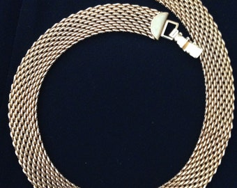 """NECKLACE 11 Rows gold tone metal 17.5 """" lays flat"""