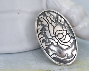 sterling silver SILVER ROSE RING antiqued sterling silver vintage repurposed flower ring