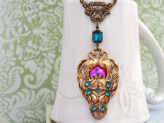 THE ROYAL PEACOCK victorian style brass peacock necklace with Swarovski rose red glass jewel and zircon rhinestones