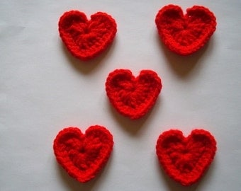 Small Heart Appliques - Red - Set of 5