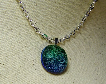 Blue Green Dichroic Glass Pendant
