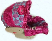 Custom Boutique Cierra Hot Pink and Turquoise Damask/Hot Pink 3D Roses Infant car seat cover 5 piece set