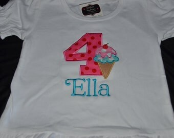 4th Birthday Shirt Ice Cream Social #4 shirt size 4, name Ella.  Ready to ship. All sales final.  Clearance Sale!