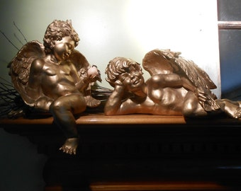 Pair of Golden Vintage Cherubs / Jim Marvin Collection / Mantel, Holiday, or Wedding Decor