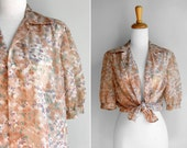 SALE Vintage Watercolor Floral Blouse- Pink Peach Sheer Chiffon See through Button Up Feminine Girly 3/4 Sleeves- Size Medium or Large M L