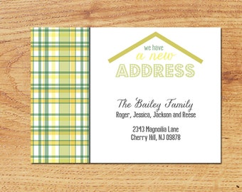 Change of Address-Printable Custom Digital Card- New House, New Address, New Home, Moving Announcement Madras Plaid