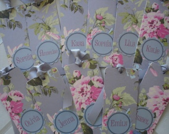 Anna Griffin Roses on Shimmer Gray  Personalized Bookmark with Placard monogram