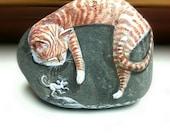 Sleeping Tabby Cat as White Mice Tiptoe, painted rocks by Shelli Bowler, Original Art peices