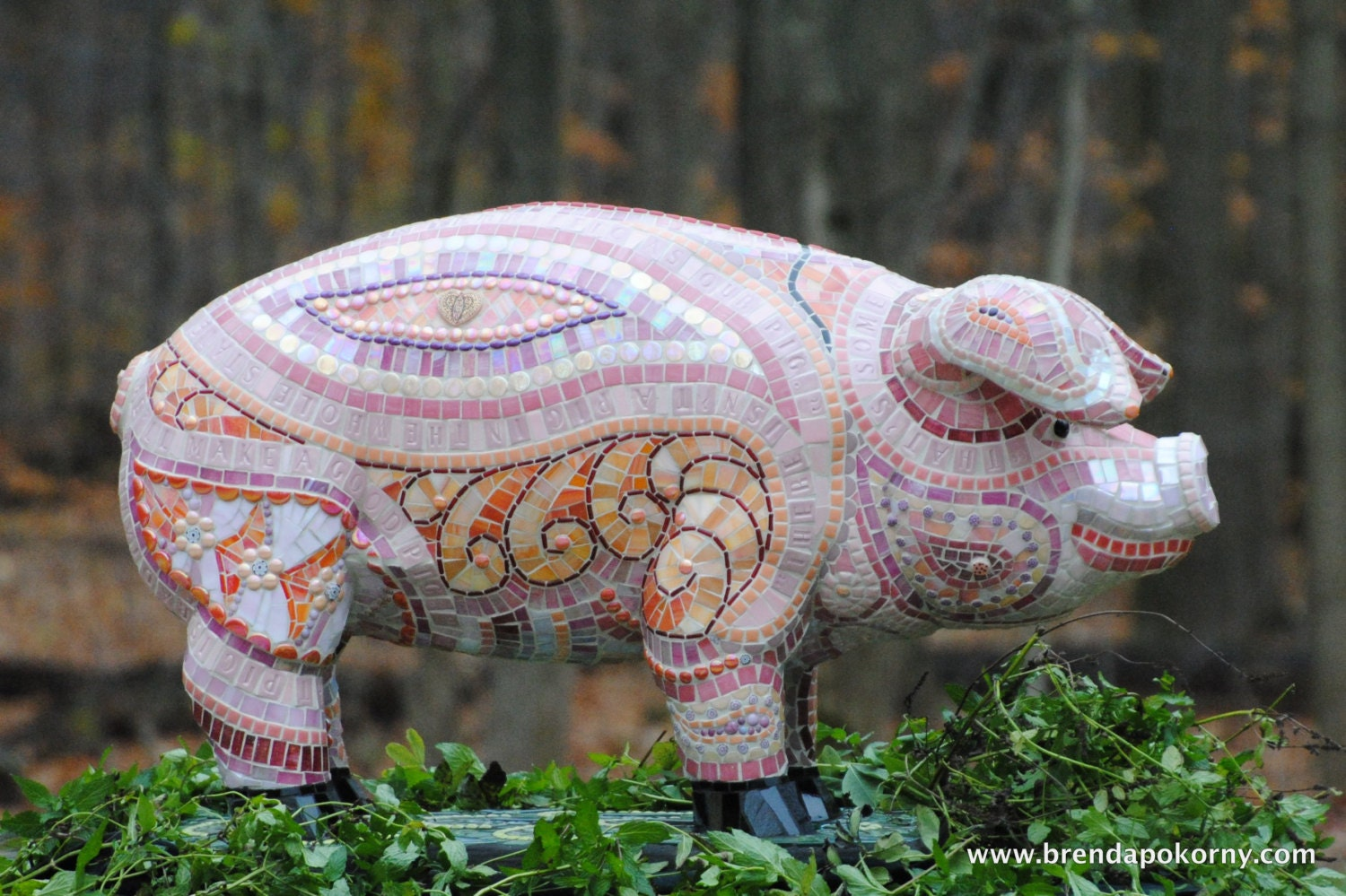 Pig lawn ornament - Some Pig Mosaic Pig Garden Statue One Of A Kind Mosaic On Cement By Brenda Pokorny