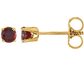 14kt Gold Youth Birthstone Earrings January Birthstone-Mozambique Garnet Studs, 2nd Anniversary Gift
