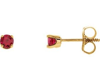 14kt Gold Birthstone Earrings July Birthstone-Chatham Ruby Studs