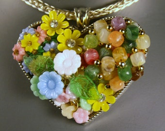 One of a Kind Repurposed Jewelry Heart Pendant 012315-3