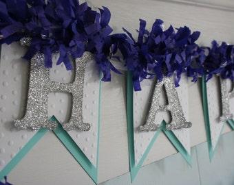 Happy Birthday Banner - Aqua and Navy - Birthday Decoration - Birthday Garland - Birthday Photo Prop
