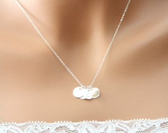 Three initial discs and  freshwater pearl Necklace All Sterling silver, Monogram necklace , Style of Disc to choose, Christmas gift for her