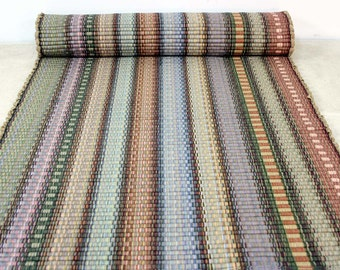 Rag Rug Runner / Kitchen Rug 2' x 6' Shades of Autumn Tan Brown Sage Green Gold Pastel Rug