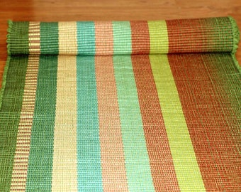 Rag Rug Runner / 2 x 6 Cotton Rug in Green and Copper and Peach