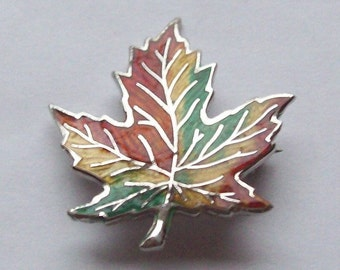 Maple Leaf Sterling Silver Pendant Enameled Multicolour