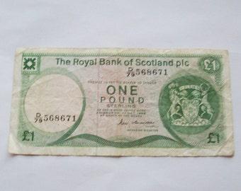 1970s 1980s RBS Royal Bank of Scotland Pound Note Edinburgh Castle