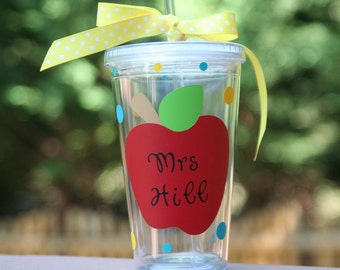 Personalized teacher gift - 16oz Insulated cup with apples and polka dots