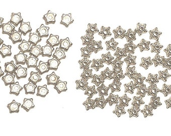 Silver Bead Caps 80 Starfish look Findings for jewelry making supplies destash