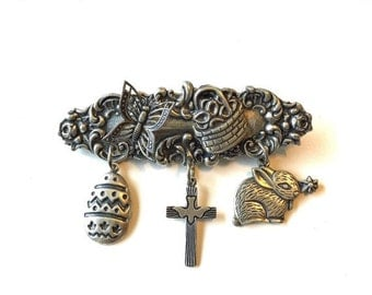 Vintage Style EASTER Silver Brooch Art Deco Nouveau Butterfly Bunny Basket Cross Dove Charms Christian Jewelry