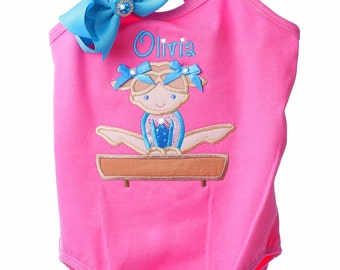Custom Boutique Little Gymnast Gymnastic Birthday Spaghetti Strap Leotard Design Your Own